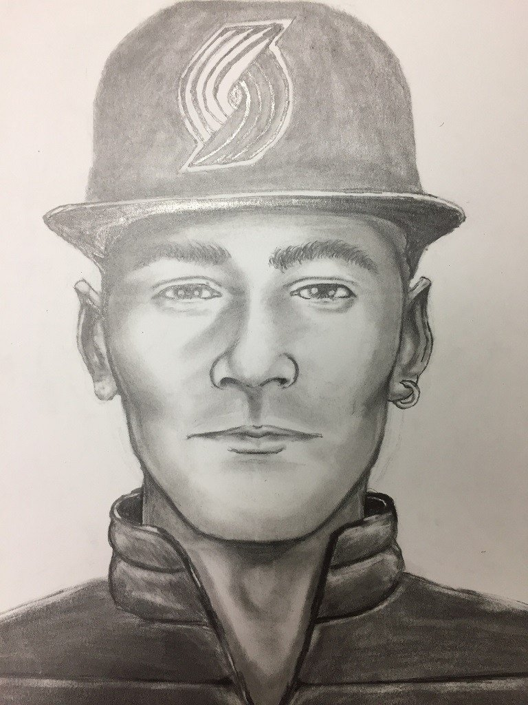 Police have released this sketch of a man suspected of yelling anti-immigrant slurs at a Hispanic man before assaulting him outside of a Portland funeral home on February 7. (Portland Police Bureau)