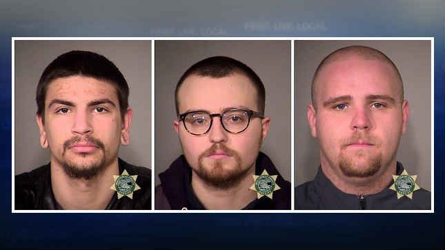 Christopher McGregor, Zachary Pursley and Jeffrey Singer, jail booking photos. (Courtesy: Portland Police Bureau)