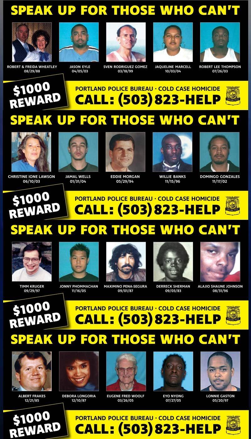 Images: Portland Police Bureau Cold Case Homicide Unit