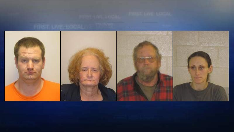 From left, jail booking photos: Gregory Reynolds, Donna Reynolds, Glen Reynolds, Fawn Cecil.