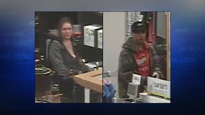 Suspects accused of using stolen credit card (Surveillance images released by Clark County Sheriff's Office)