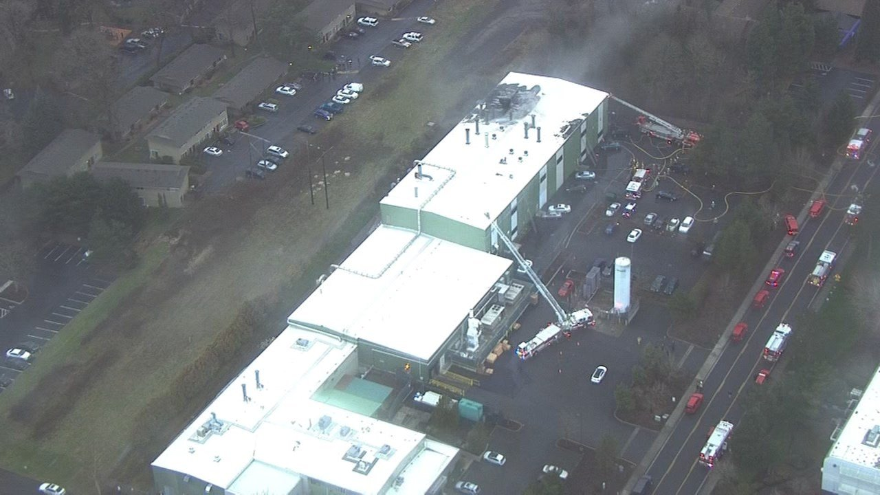 Commercial fire near Beaverton (KPTV/Air 12)
