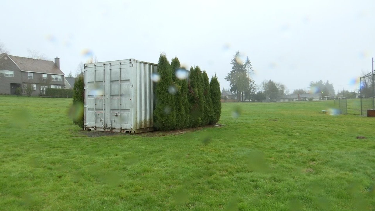 Storage container at Byrom Elementary School where the ATV was stored. (KPTV)