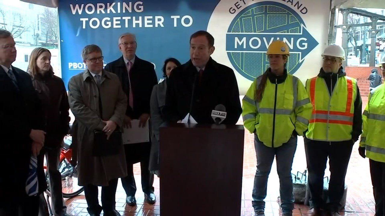 "Ceremony to launch ""Get Portland Moving"" initiative Thursday. (KPTV)"
