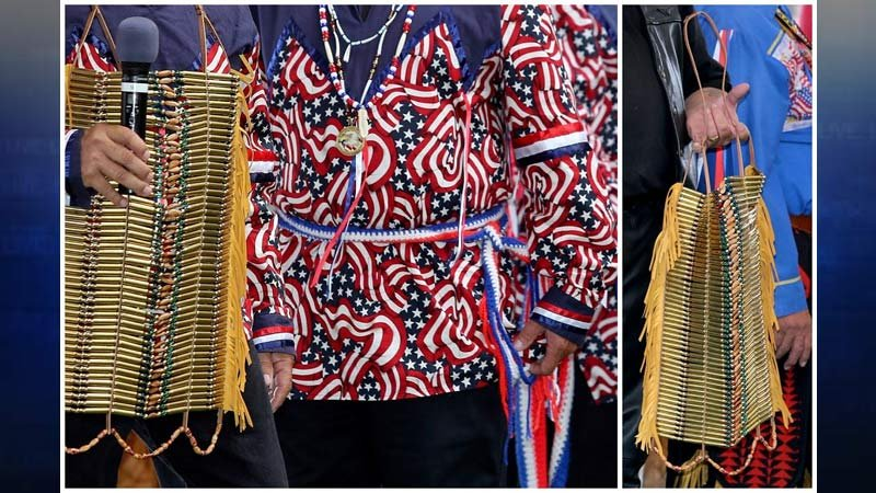 Photos of vest stolen from powwow hosted by the Confederated Tribes of Grand Ronde. (Photos: Confederated Tribes of Grand Ronde/Crime Stoppers of Oregon)