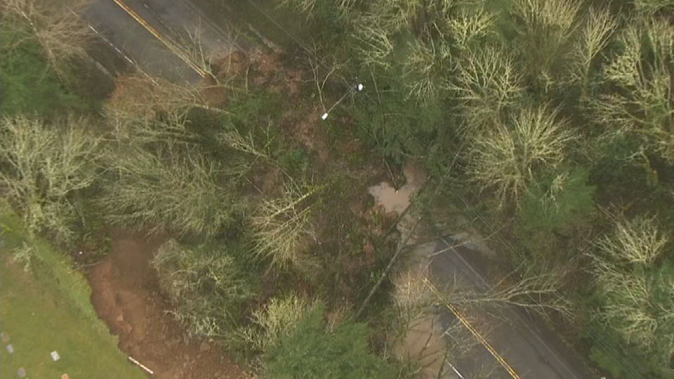 Air 12 over scene of landslide