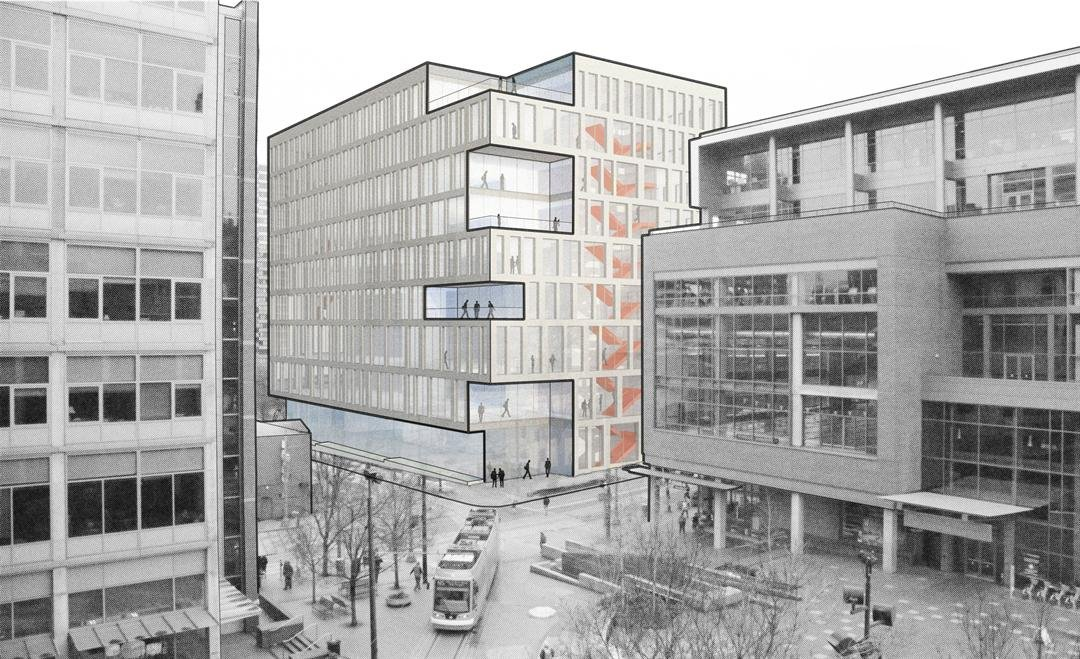 The rendering for the new $100 million building, courtesy of Portland State University.