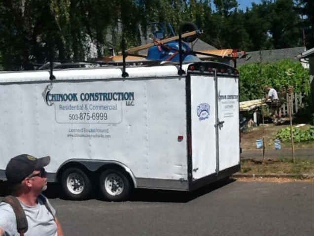 Photo of the construction trailer that was stolen over the weekend. (Courtesy: Bill Derion)