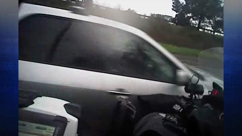 Image of car that hit Beaverton officer's motorcycle on Highway 217 on-ramp at Canyon Road. (Image: Beaverton Police Department)