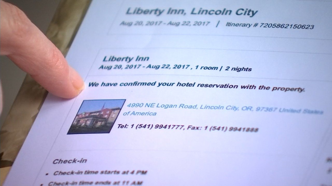 Carolyn Westerback said she thought she had everything ready to go when she booked hotel rooms using online travel site Expedia only for the hotel in Lincoln City to tell her the reservations were canceled. (KPTV)