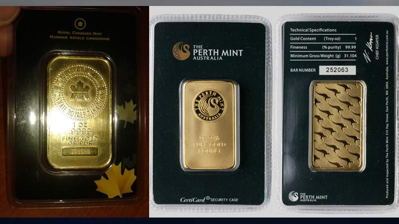 Images of artificial gold bars released by Bend Police Department.