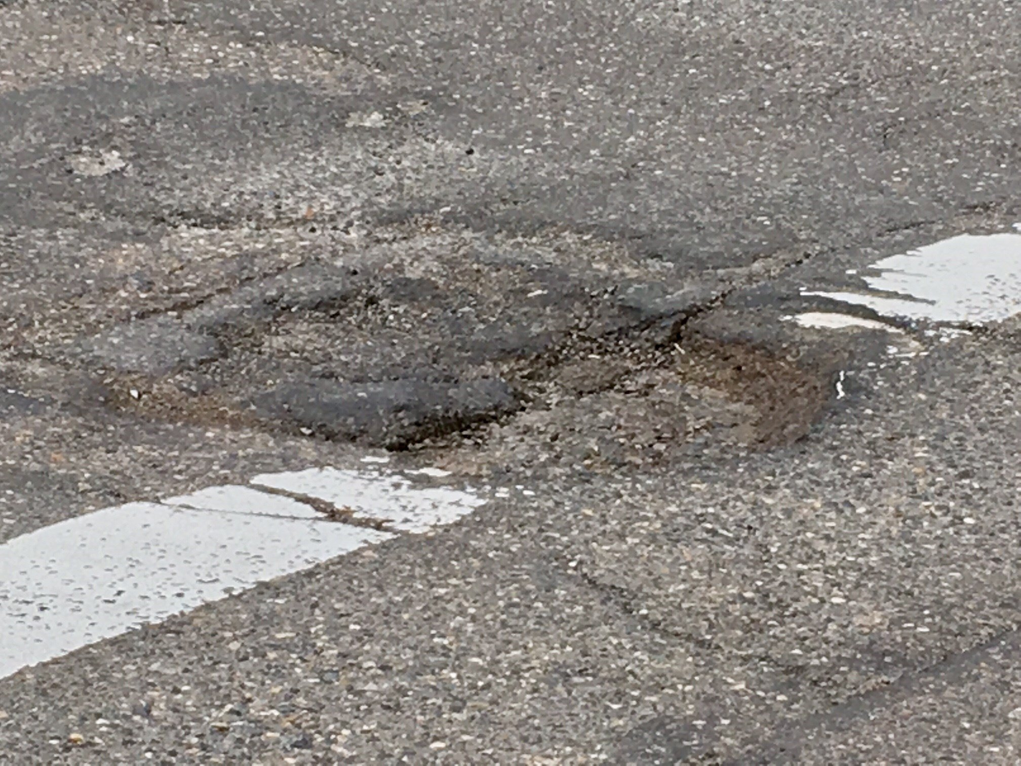 A pothole in downtown Portland.