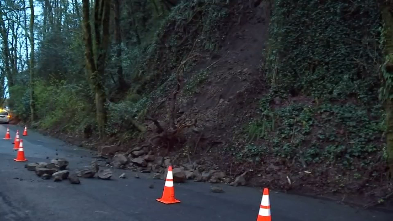 PBOT crews have had a busy spring responding to a record number of landslides that have closed roads around the city. (KPTV)