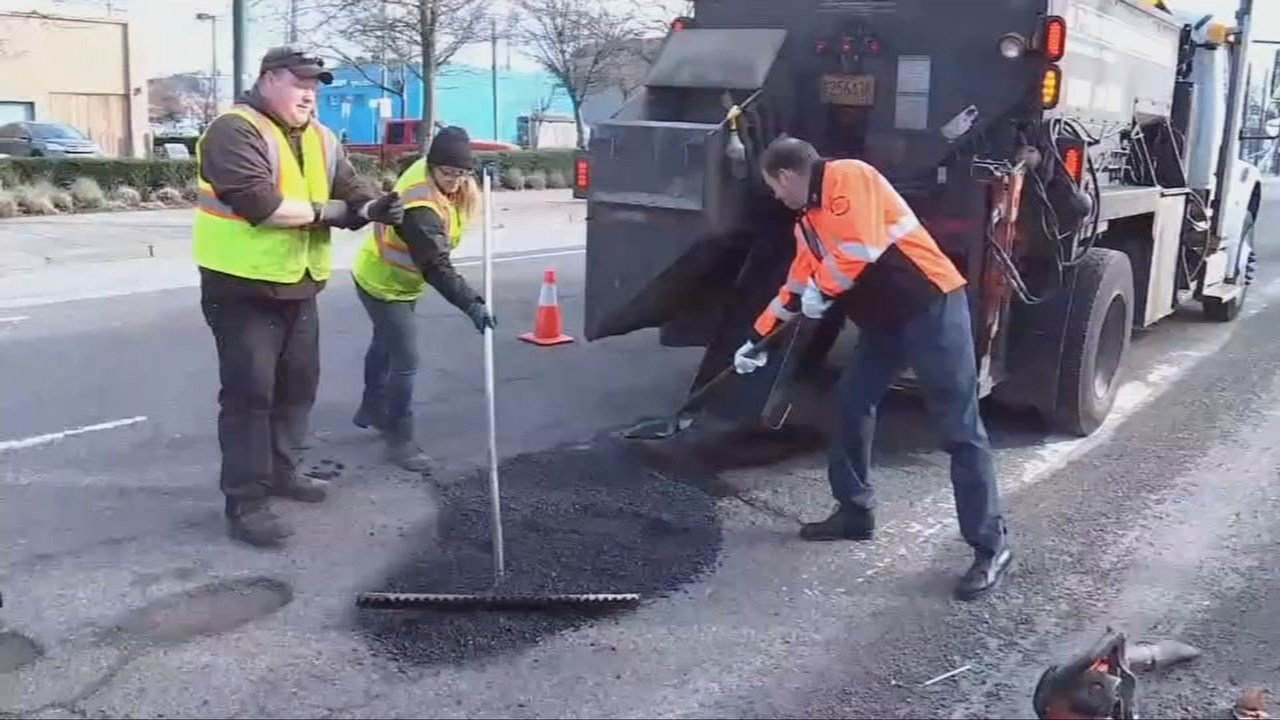 Though crews have made extra efforts to repair potholes around the city, PBOT officials say much of the work has been delayed due to immediate work needed clearing landslides. (KPTV)