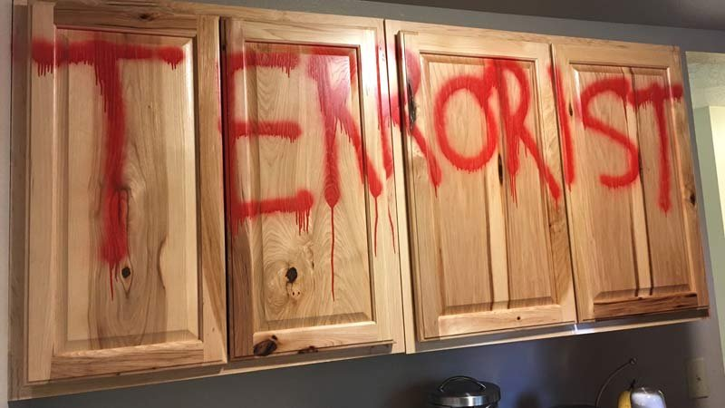 Vandalism left in Troutdale home that is under investigation as a bias crime. (KPTV)