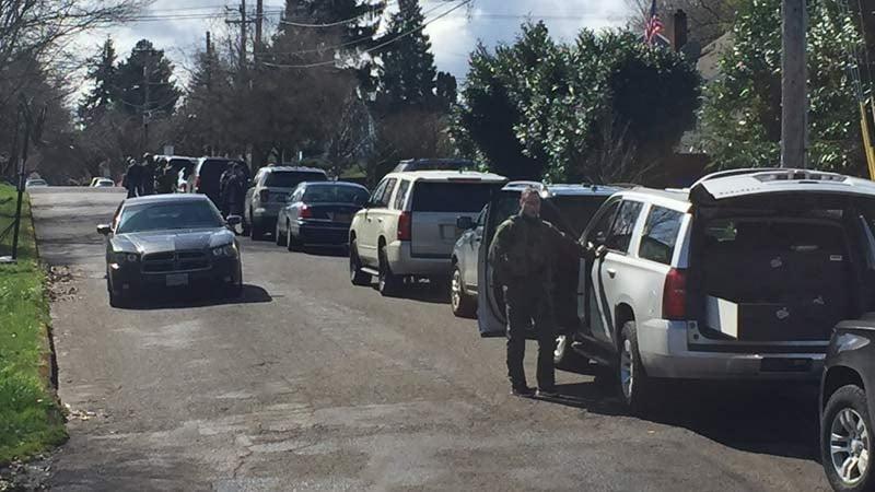 Scene of murder suspect's arrest in north Portland on Thursday. (KPTV)