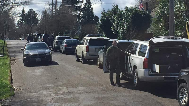 Scene of murder suspect's arrest in north Portland on Thursday. (KPTV)