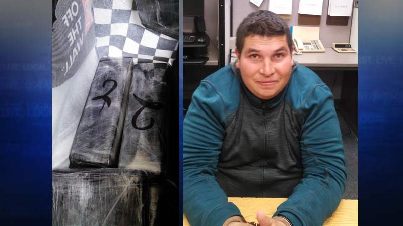 Evidence photo of seized cocaine on left; photo of Juan Yonic Perez Palafox on right. (Photos: Oregon State Police)