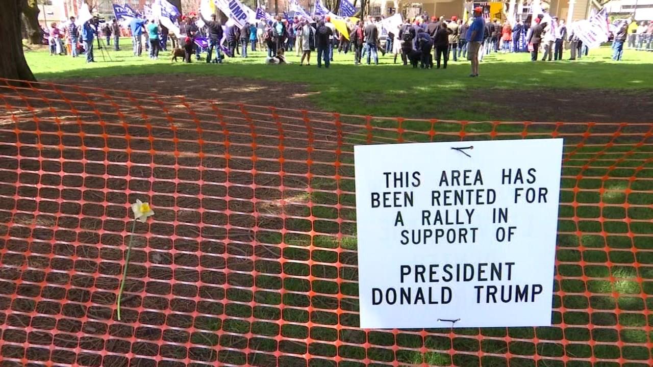 Pro-President Donald Trump rally in Vancouver on Sunday (KPTV)