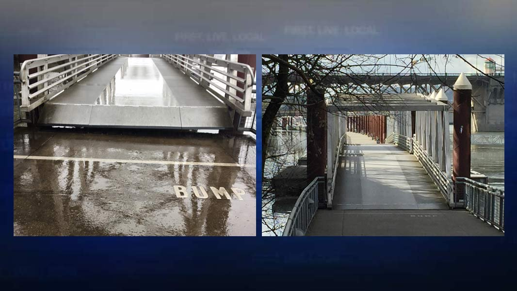 Eastbank Esplanade during closure, on left, and when it was safe to reopen again Monday, on right. (Photos: Portland Parks & Recreation)
