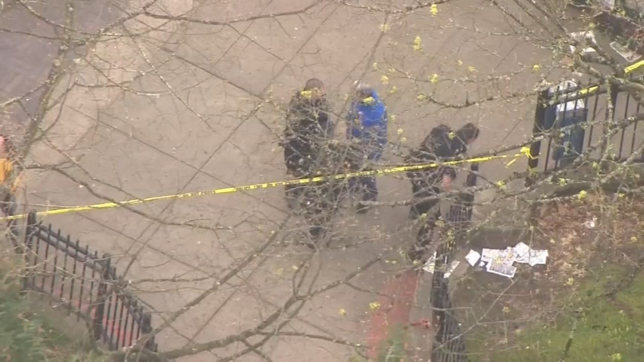 Shooting scene at Holladay Park in northeast Portland on Tuesday. (KPTV/Air 12)