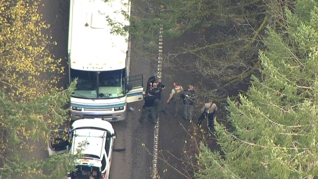 RV involved in multiple crashes, standoff on Cornelius Pass Road (KPTV/Air 12)