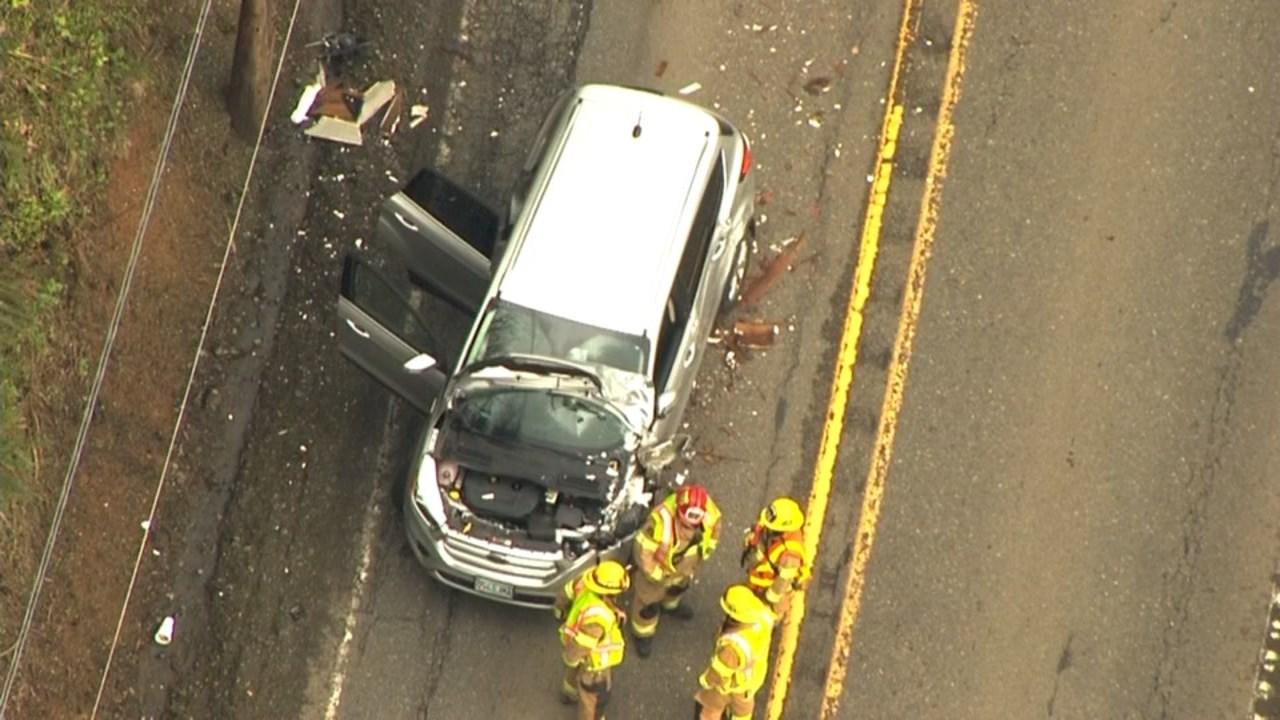 Vehicle hit by RV on Cornelius Pass Road (KPTV/Air 12)
