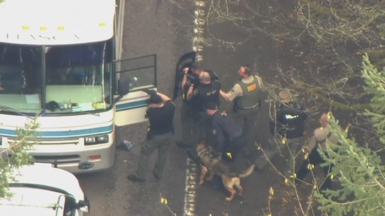 K-9 Bravo at scene of RV crash on Cornelius Pass Road. (KPTV)
