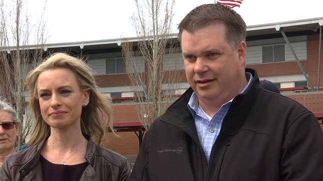 Michelle and Matt Burbank were at Camas High School Sunday with a message to their son. (KPTV)