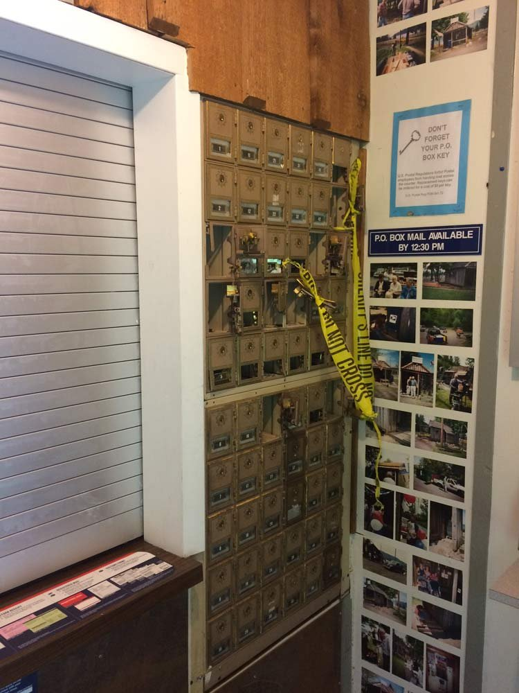 Damage to mail boxes at post office in Bridal Veil (Photo: U.S. Postal Inspection Service)