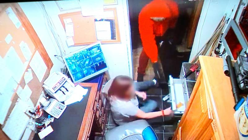 Surveillance image from armed robbery at The Sting Tavern. (KPTV)