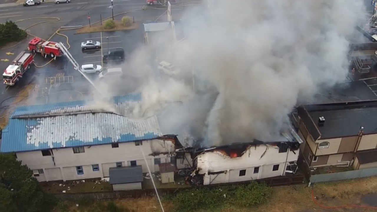 Four people died in a fire at the City Center Motel in Newport in August 2016 (Image: Ed McVea/KPTV)