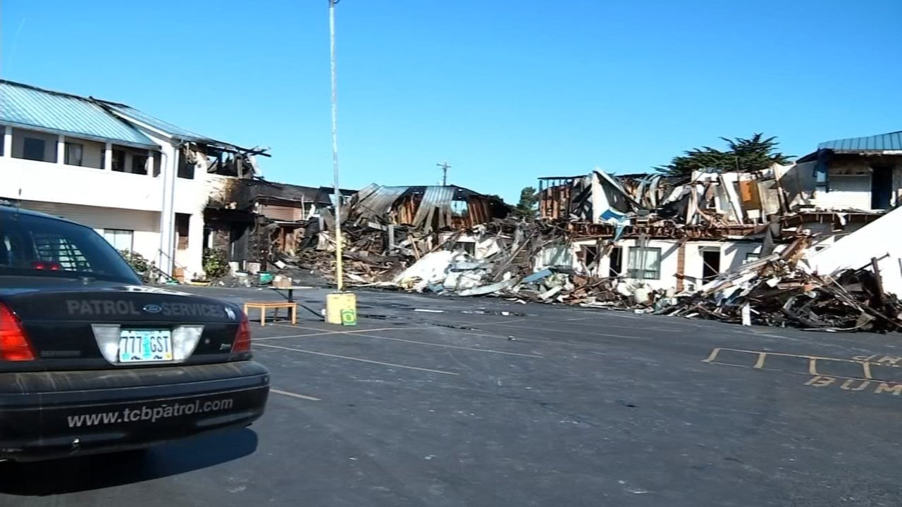 Four people died in a fire at the City Center Motel in Newport in August 2016 (Image: KPTV)