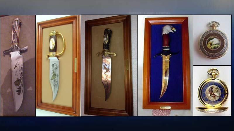 Eagle items - knives and pocket watches - stolen from man who was killed in Woodland. (Photos released by homicide detectives)
