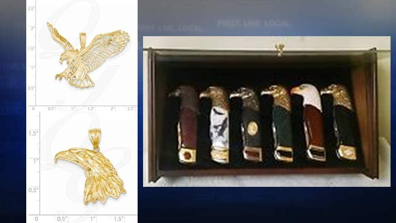 Eagle items - jewelry and pocket knives - stolen from man who was killed in Woodland. (Photos released by homicide detectives)