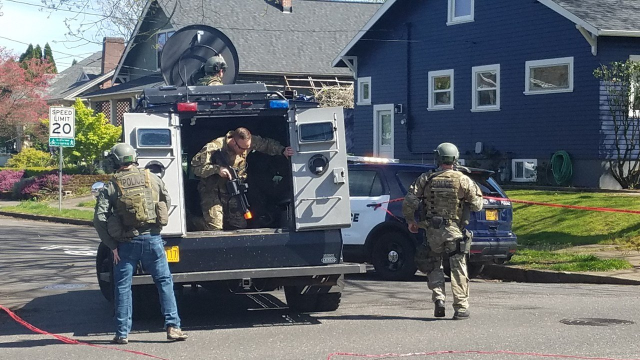Officers with the PPB's Special Emergency Reaction Team have been called in to assist detectives with a person of interest that may be connected to today's death investigation at the Motel 6. (Portland Police Bureau)