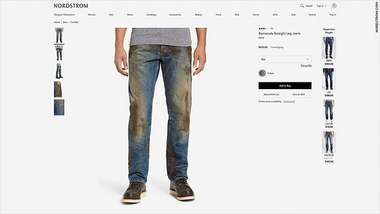 Dirty denim is the new black, selling for hundreds of dollars at pricy retailers like Nordstrom.