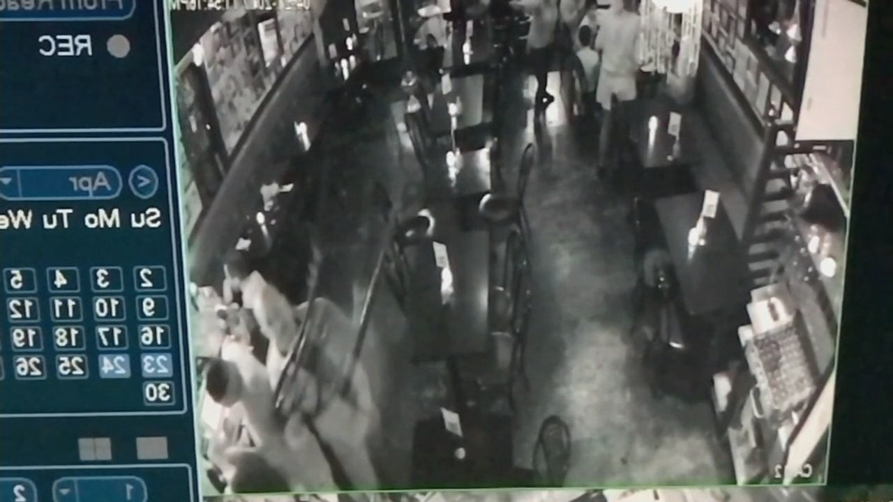 Surveillance video shows Damien Rodriguez grab a chair and throw it at an employee (Courtesy: Sahib family)