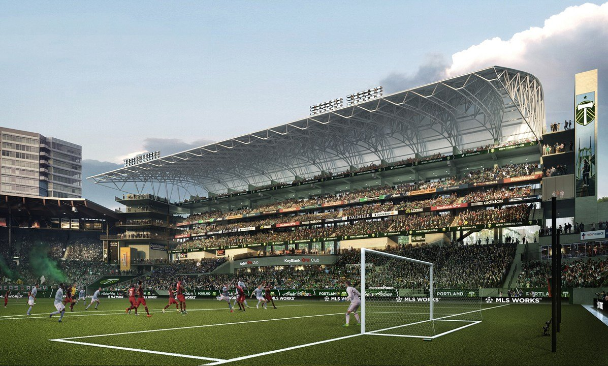 Rendering of interior of new expansion at Providence Park (courtesy Brooklyn Digital Foundry)