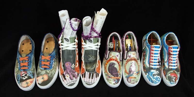 Sandy High School's entries in Vans Custom Culture shoe design competition. (Photo: Oregon Trail School District)