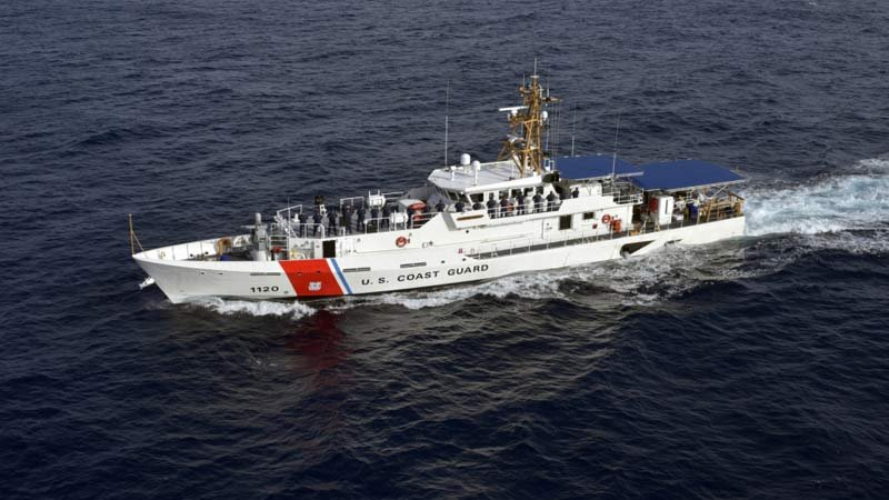 The Coast Guard Cutter Lawrence Lawson crew mans the rail during sea trials off the coast of Miami on Dec. 12, 2016. (U.S. Coast Guard photo by Eric D. Woodall)