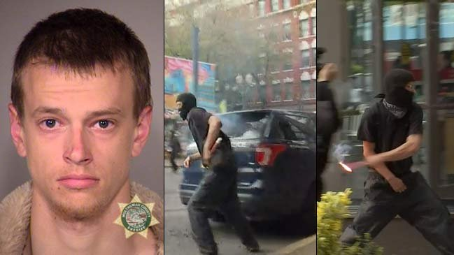 Damion Feller, jail booking photo on left, images from May Day riot in downtown Portland on right. (KPTV)
