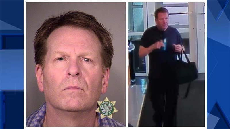 Jail booking photo and surveillance image of Jon McKinley Clark (Portland Police Bureau)