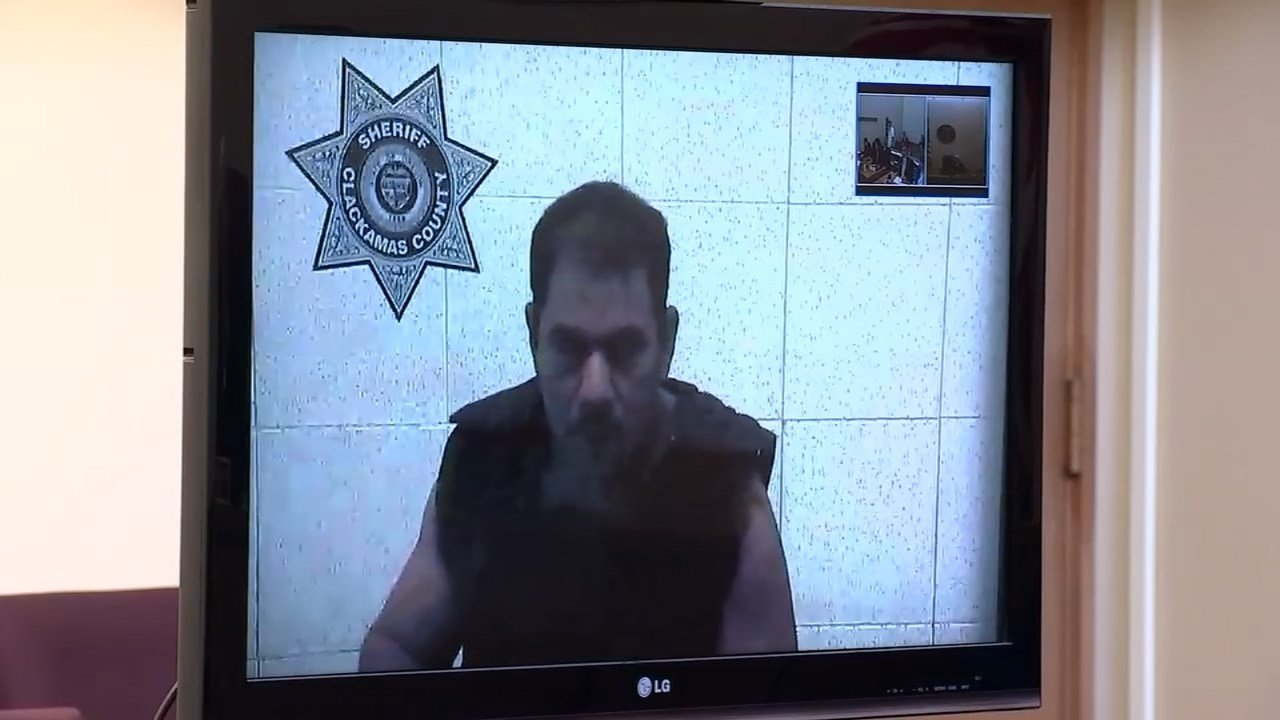 Isidro Flores-Ramos appeared via a video feed from jail Tuesday as a Clackamas County judge presented the charges facing him after the assault of a 9-year-old girl this past February. (KPTV)