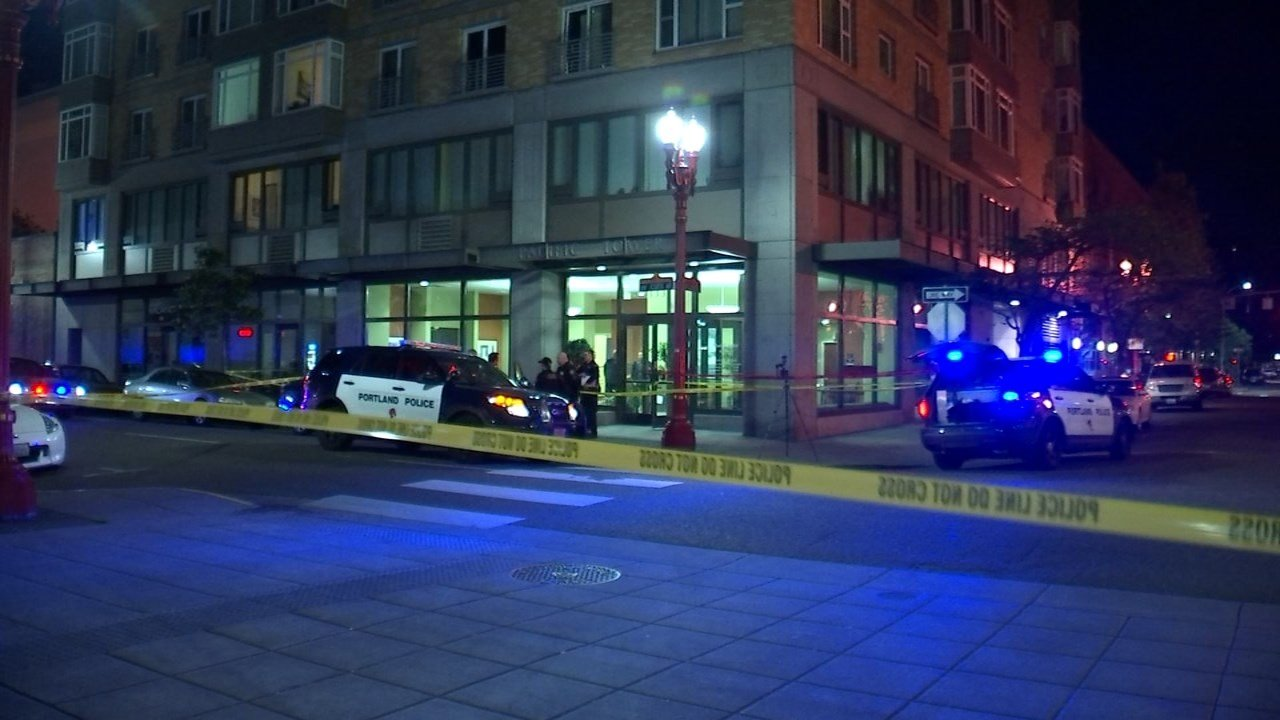 Stabbing scene in Portland's Old Town on Monday night. (KPTV)