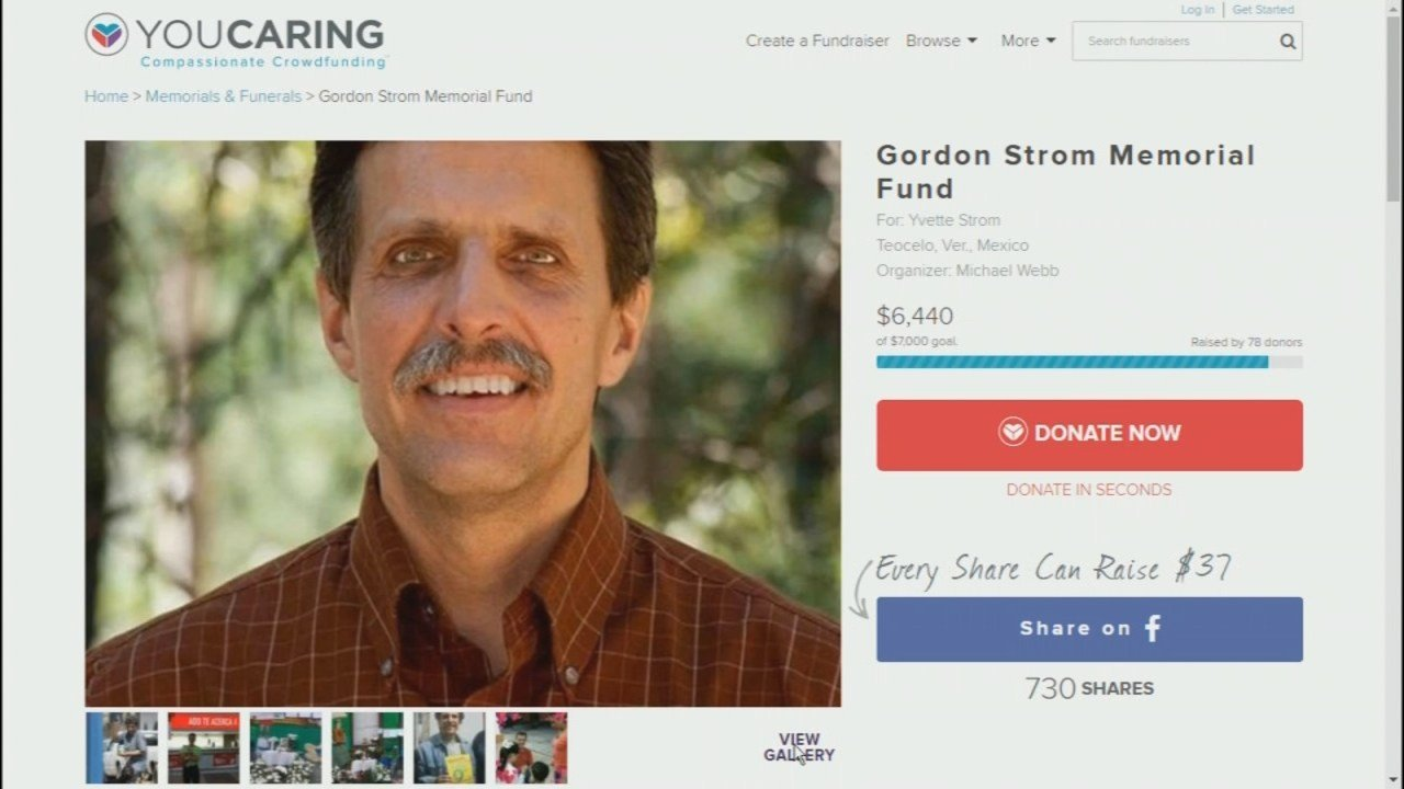 The family of Gordon Strom have started a YouCaring fund to help his widow at Strom was found dead at their home in Mexico. (YouCaring.com)
