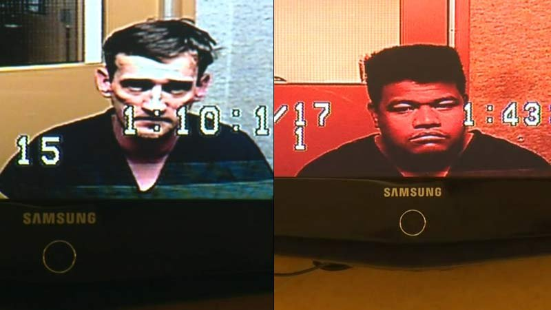 Vancouver road rage suspects Matthew Champagne and Kaio Vaigafa appeared in court via video conference on Friday. (KPTV)