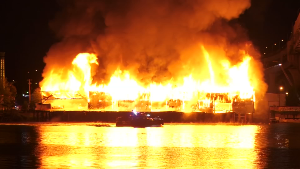 It would take 80 firefighters, five fire chiefs and 20 pieces of equipment including trucks, engines and fire boats to get this warehouse fire on the waterfront under control on May 15. (KPTV)