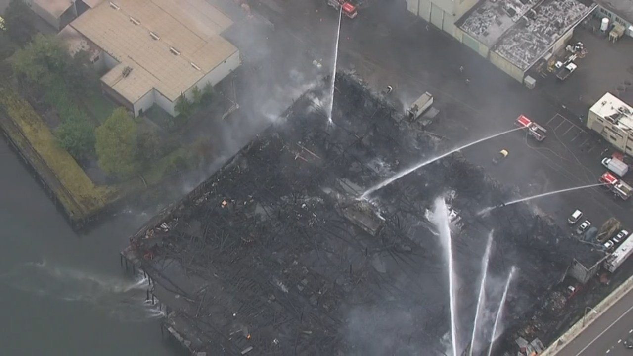 A warehouse under the Fremont Bridge was destroyed in a fire. (KPTV/Air 12)