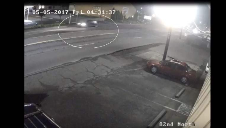 Surveillance image released by Portland police of the car involved in a deadly hit-and-run collision on Southeast 82nd Avenue on May 5.